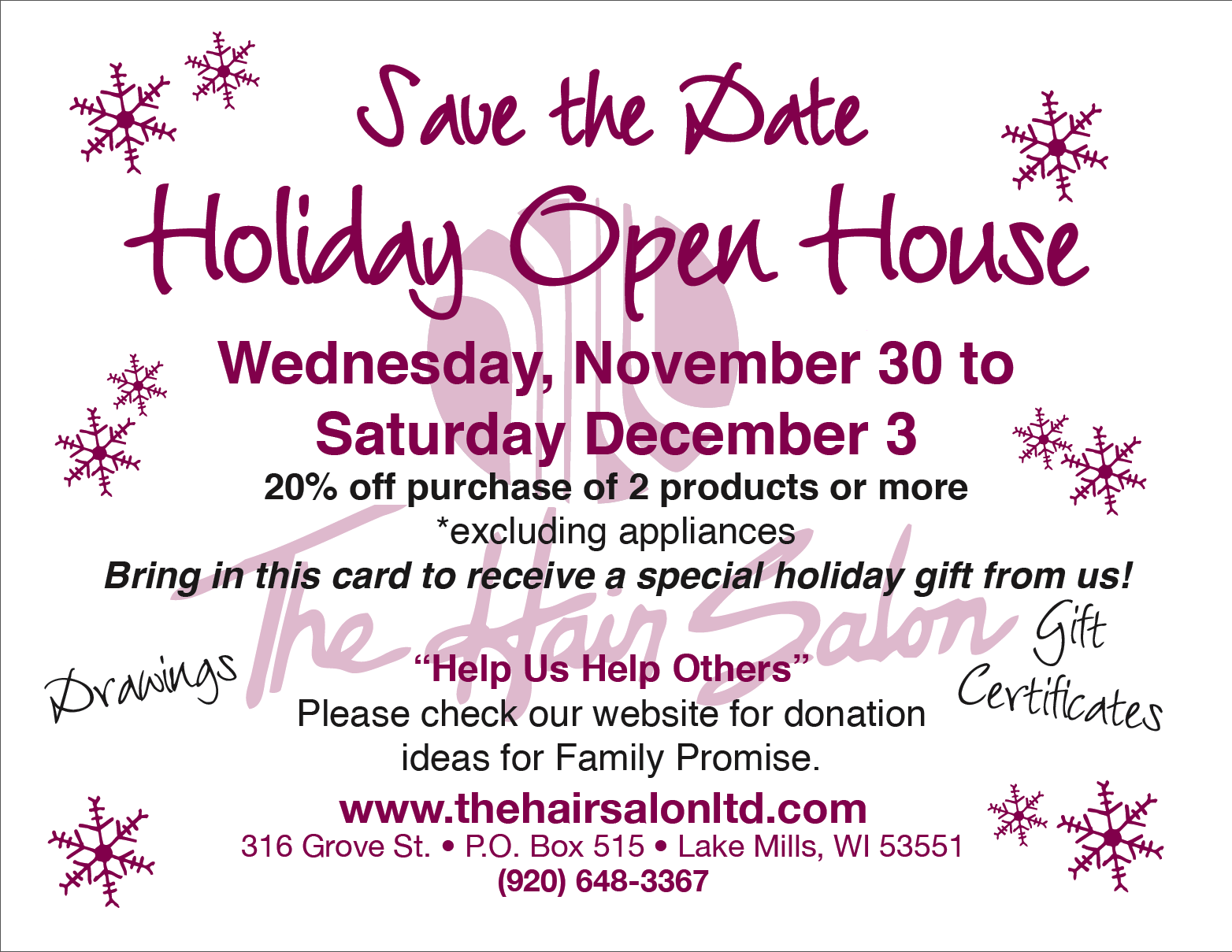 hair-salon-holiday-openhouse - The Hair Salon, Ltd.